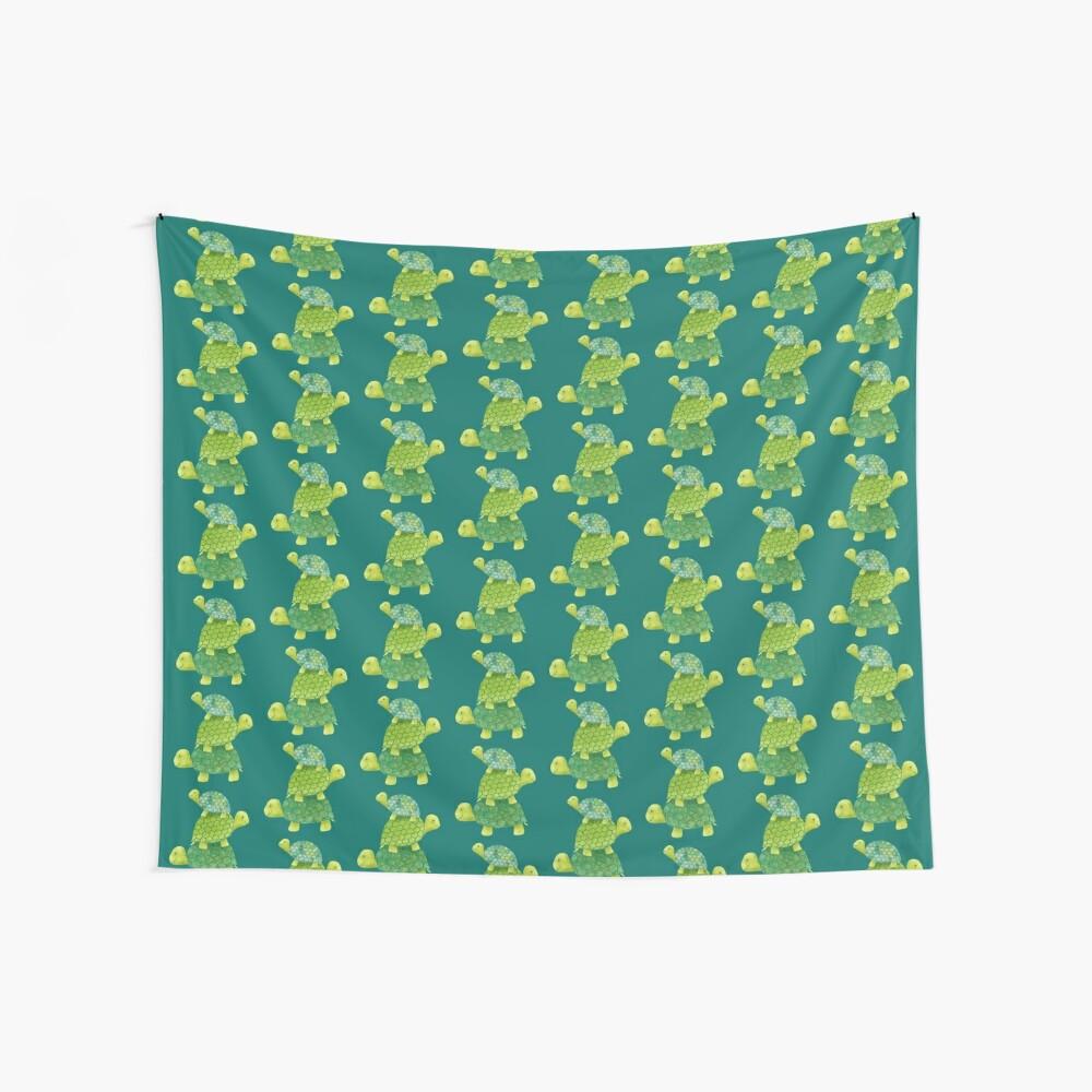Linda pila de tortugas en verde azulado, verde lima y turquesa Tela decorativa