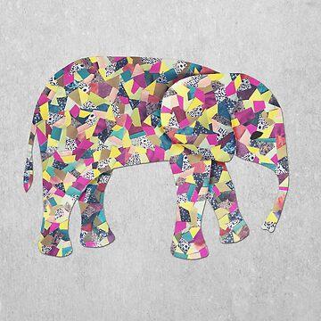 Elefante Collage en gris, rosa y azul turquesa de ElephantTrunk