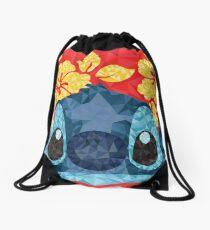 Geometric Stitch with Hawaiian Flowers  Drawstring Bag