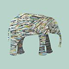 Elephant Silhouette Paper Collage in Gray, Aqua and Seafoam by ElephantTrunk