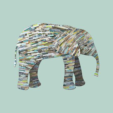 Collage de elefante silueta de papel en gris, aguamarina y Seafoam de ElephantTrunk
