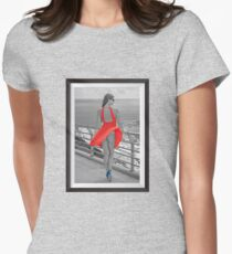 sexy woman in red dress black & white frame T-Shirt