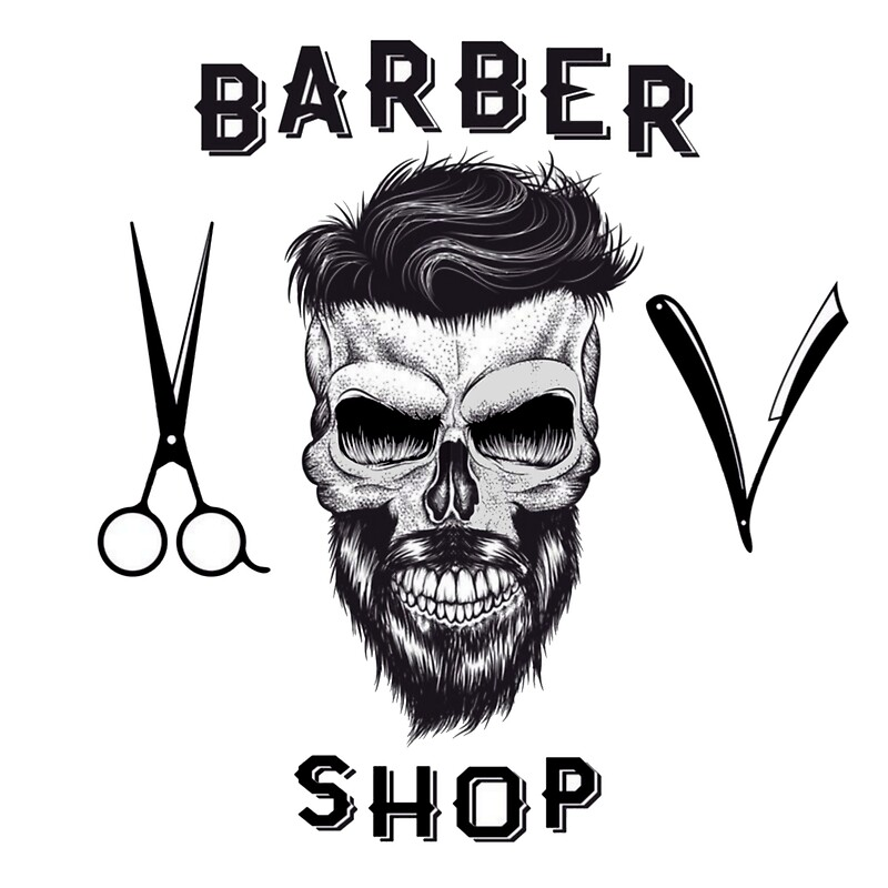 """barber shop skull - barber head of death"" Photographic ..."