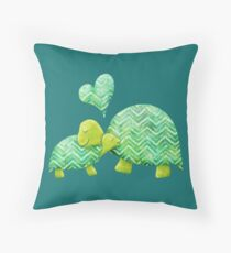 Sweet Turtle Hugs with Heart in Teal, Lime Green and Turquoise Throw Pillow