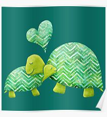 Sweet Turtle Hugs with Heart in Teal, Lime Green and Turquoise Poster