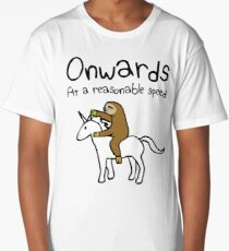 Onwards! At A Reasonable Speed (Sloth Riding Unicorn) Long T-Shirt