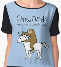 Onwards! At A Reasonable Speed (Sloth Riding Unicorn) Chiffon Top