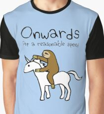 Onwards! At A Reasonable Speed (Sloth Riding Unicorn) Graphic T-Shirt