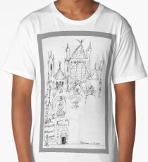 Italy- An early Pen and Ink of the Cathedral Facade in Siena Long T-Shirt