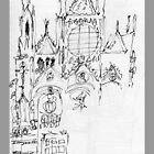 Italy- An early Pen and Ink of the Cathedral Facade in Siena by James Lewis Hamilton