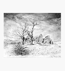 Pendragon Castle pen and ink drawing Photographic Print