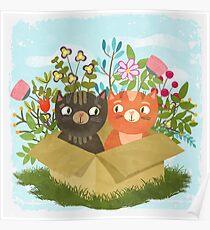 A Carton Of Cute Kitties Poster