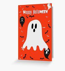Orange Happy Halloween - Li'l Ghost Greeting Card