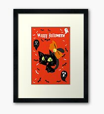 Orange Happy Halloween - Black Cat with a Bow Framed Print