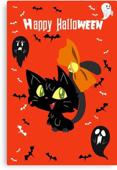 Orange Happy Halloween - Black Cat with a Bow by SaradaBoru