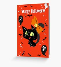 Orange Happy Halloween - Black Cat with a Bow Greeting Card
