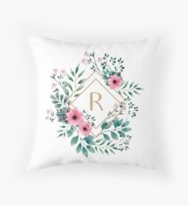 Watercolor R Throw Pillow