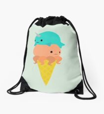 Narwhal Octopus Ice Cream Drawstring Bag