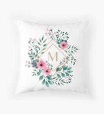 Watercolor M Throw Pillow