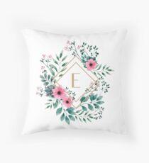 Watercolor E Throw Pillow
