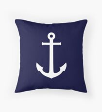 White Anchor On Navy Blue Throw Pillow