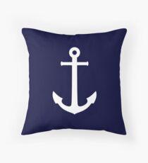 White Anchor On Navy Blue Throw Pillow