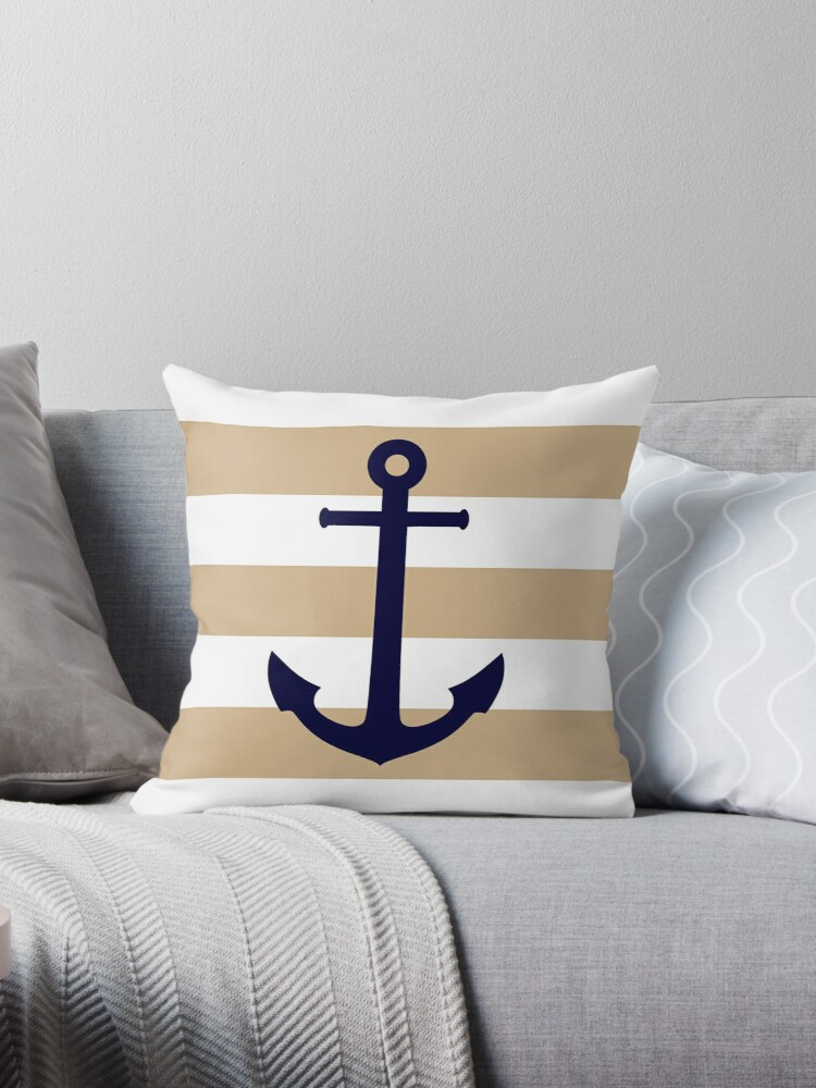 Nautical Navy Blue Anchor On Tropical Tan Stripes by rewstudio