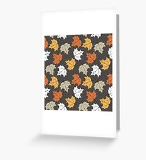 Colorful seamless pattern with maple leaves isolated purple background Greeting Card