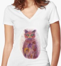 Green Eyes Colorful Cat Women's Fitted V-Neck T-Shirt