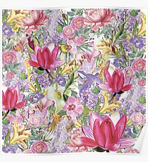 Colorful Floral Pattern - Cool Happy Spring Design Poster