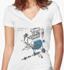 Nissan L4 Exploded View Women's Fitted V-Neck T-Shirt