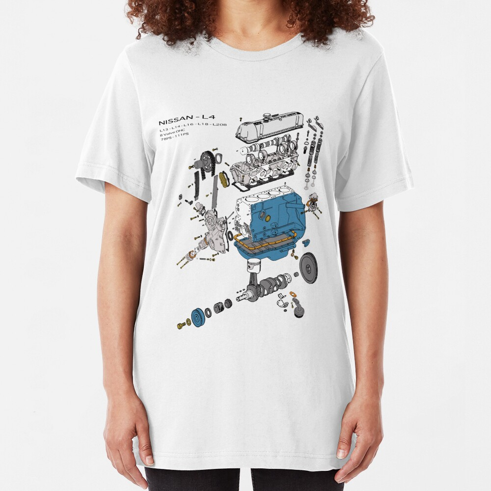 Nissan L4 Exploded View Slim Fit T-Shirt