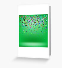 Set of Colorful Stars on Green Background. Starry Pattern Greeting Card