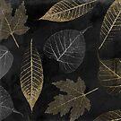 Autumn Gold Leaf Pattern Black by mindydidit