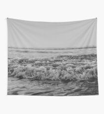 Black and White Pacific Ocean Waves Wall Tapestry
