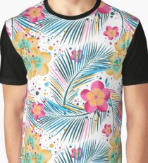 Multi-color tropical leaves and flowers on a white background Graphic T-Shirt