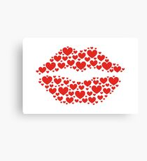 KISS LIPS WITH HEARTS, Valentine`s Day Canvas Print