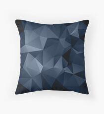 Cojín Patrón poligonal negro y azul.