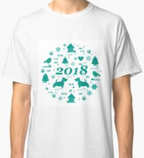 Cute vector illustration of different new year and Christmas symbols arranged in a circle. Winter elements made in line style. Classic T-Shirt
