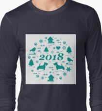 Cute vector illustration of different new year and Christmas symbols arranged in a circle. Winter elements made in line style. T-Shirt