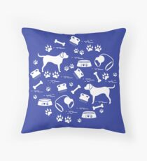 Cute vector illustration goods to care for dogs arranged in a circle.  Health care, vet, nutrition, exhibition. Throw Pillow