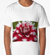 Macro photo of a red and white Dahlia Long T-Shirt