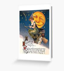 Young lady witch riding a broom on full moon, Halloween vintage card Greeting Card