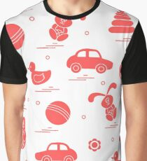 Vector pattern of different toys: car, pyramid, roly-poly, ball, hare, rattle, duck, penguin. Graphic T-Shirt