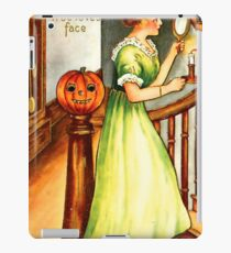 Young lady with mirror and candle at Halloween night iPad Case/Skin