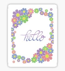 Floral and Handlettered Hello Sticker
