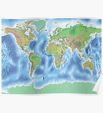 Physical world map in green and blue Poster