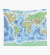 Physical world map in green and blue Wall Tapestry