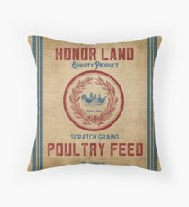 Vintage Burlap Like Feed Sack Throw Pillow