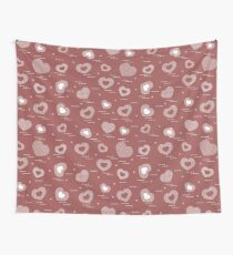 Cute seamless pattern with hearts in cell. Wall Tapestry